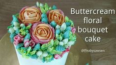 """The latest two have been about buttercream techniques – how to pipe roses, parrot tulips, carnations and hypericum berries to make a 5"""" floral bouquet..."""