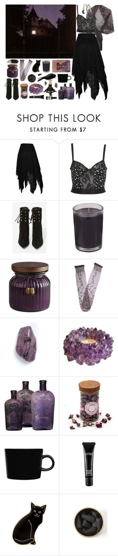 """""""271 //Season of the Witch//"""" by snake-eyes-and-sissies ❤ liked on Polyvore featuring Jeffrey Campbell, Forever 21, Pier 1 Imports, Trasparenze, iittala, MAC Cosmetics, Calourette, Blackbird and Aesop"""
