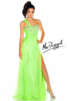 New MAC DUGGAL 64348L Neon Lime One Shoulder Strappy Back Prom Dress Size 10 #MacDuggal #Formal