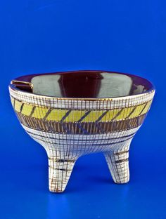 Bitossi Italian Pottery Aldo Londi Vintage c.1960 Mod Tri-Pod Sgraffito Ashtray