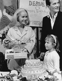 Goodbye Charlie - on set - Debbie Reynolds with Pat Boone and daughter Carrie Fisher circa 1965