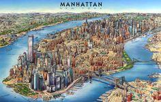 Pictorial bird's eye view map of Manhattan, New York City. By Unique Media Inc. Manhattan Skyline, Manhattan New York, Hotel Luxor Las Vegas, Ericeira Portugal, Birds Eye View Map, New York Buildings, North America Map, Destinations, World Geography
