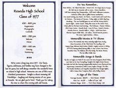 class reunion ideas | Class Reunion Decorations | Class Reunion Ideas! / Program | Reunion
