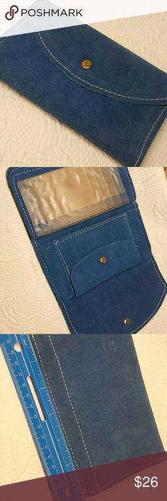Blue Suede Wallet Never used, beautiful blue suede wallet.  Please see 5th pic for where sticker had been. Hardly noticeable unless up close. Vintage  Bags Wallets