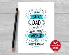 Printable Birthday Card For Dad - To The Best Dad In The Whole Wide World Happy Birthday - Includes Printable Envelope Template Printable Birthday Card For Dad To The Best by TheLittleRedCherry Birthday Cards For Brother, Cool Birthday Cards, Birthday Cards For Boyfriend, Dad Birthday Card, Birthday Diy, Birthday Gifts, Husband Birthday, Sister Birthday, Happy Birthday For Dad