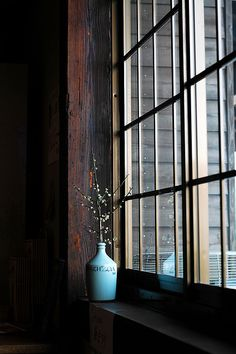 "#Sarjaton  Warm and cold colours. Clean lines.  ""By the window""  Japanese plum in that blue vase  Japanese restaurant.  The house was reconstructed in a new location from Historic Villages of Shirakawa-go and Gokayamaa."