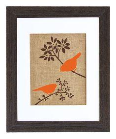 Look what I found on #zulily! Autumn Birds Framed Burlap Print #zulilyfinds