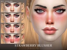 Reddish blush with subtle shine for cheeks, nose and ears. Comes in 4 colors, works for all ages and genders. Found in TSR Category 'Sims 4 Female Blush'