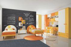 Incroyable Ameublement Chambre 2 Ados Jaune Et Orange Et Mur Tableau Noir Chambre Ado  Orange, Chambre