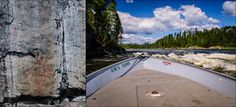 """7. Canoeists are assisted by """"traffic signs"""" on the river, courtesy the Cree nation.   Rock paintings are common along the Churchill River. This one warns of the upcoming rapids pictured on the left.   Nine Things I Learned About Saskatchewan by Jeff Bartlett"""