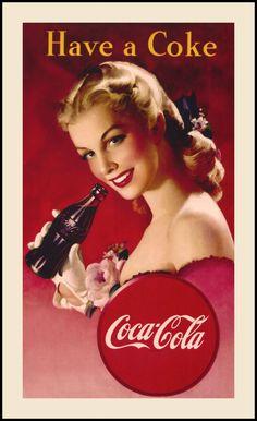 Have a Coke Vintage Coca Cola Pin Up Advertentie 611 Fabric Block Ideaal voor quilten pillows & wall art Koop 2 Ontvang 1 GRATIS Propaganda Coca Cola, Coca Cola Poster, Coca Cola Ad, Always Coca Cola, Coca Cola Vintage, Pub Vintage, Vintage Labels, Vintage Signs, Style Vintage