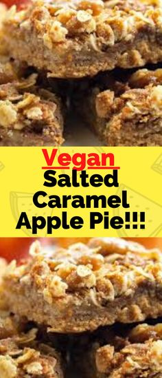This Vegan Salted Caramel Apple Pie Bars more than traditional apple pie and you'll love the ingredient list… Ingredients For the crust Salted Caramel Apple Pie, Caramel Apples, Best Vegan Recipes, My Recipes, Apple Pie Bars, Palm Sugar, Yummy Eats, Baking Ingredients