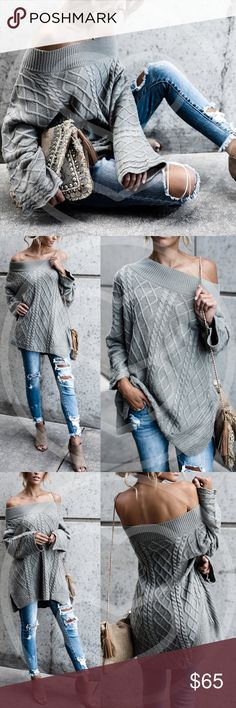 LEELA Hello Fall Knit Sweater - SAGE TRUE COLOR IS PIC 4.  Chic and effortless!  Can be worn on or off shoulder.   Oversized fit. Loose knit  55% Cotton 45% Acrylic  ALSO AVAILABLE IN DUSTY PINK  NO TRADE PRICE FIRM Bellanblue Sweaters