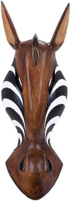 "Bayden Hill Wood Zebra Mask 20""H, 7""W"