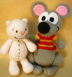 Toopy and Binoo inspired dolls cat and mouse - PDF Amigurumi pattern. $10.00, via Etsy.