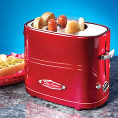 Nostalgia Electrics Retro Series Pop-Up Hot Dog Toaster. Model& The Nostalgia Electrics Hot Dog Toaster is a fast, fun and convenient way to enjoy hot dogs. This unit holds up to two regular-sized hot dogs and two hot dog buns at one time. Hot Dogs, Kitchen Gadgets, Kitchen Appliances, Cooking Gadgets, Small Appliances, Kitchen Tools, Retro Appliances, Kitchen Gifts, House Gadgets