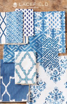 Lacefield Pacific 2015 Textile Collection #textiledesigner #lacefield #interiors #southernmade #indigo #shadesofblue www.lacefielddesigns.com