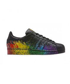 Black - Adidas Superstar Womens and Mens, Cheap Adidas Superstar Shoes Sale Rainbow Shoes, Superstars Shoes, Adidas Superstar, Black Adidas, Shoe Sale, Trainers, Sneakers, Shopping, Women