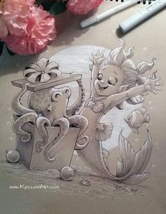 very cute drawing by kellee riley, looks like this little mermaid got a visit from otto for her birthday