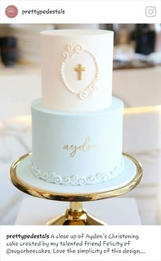 Beautiful capture of the christening cake I did for baby Ayden by - Kommunion - kuchen kindergeburtstag Boy Communion Cake, First Holy Communion Cake, Christening Cake Boy, Baby Boy Baptism, Boy Baptism Cakes, Confirmation Cakes, Boy Baptism Party, Simple Baptism Cake, Baptismal Cakes