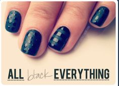 Matte and gloss all black everything nails manicure