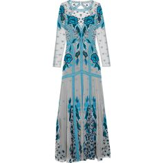 Temperley London Flutura embroidered tulle gown (£1,995) ❤ liked on Polyvore featuring dresses, gowns, blue, metallic evening gown, blue evening dress, blue tulle dress, metallic gown and blue ball gown