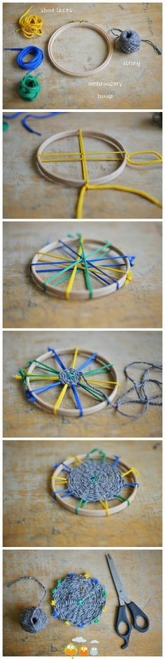 Weaving! I want to try this with a hula hoop to make a rug. ♥︎