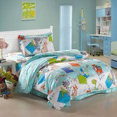 Dinosaur Kingdom Sky Blue Dinosaur Bedding Set Linen Bedding, Bedding Sets, Dinosaur Bedding, Bedroom Colors, Duvet Cover Sets, Kids Room, Blanket, Blue, Sky