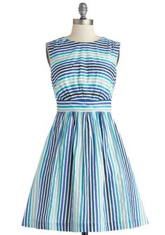 Too Much Fun Dress in Blue Sea Stripes by Emily and Fin - Stripes, Pockets, Casual, A-line, Sleeveless, Better, Cotton, Woven, Mid-length, B...