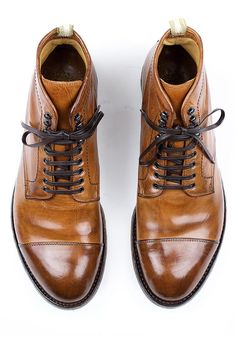 Officine Creative Anatomia 16 Cap Toe Boot for Men - Cognac High Ankle Boots 3064f2e2d
