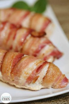 This easy 3 ingredient Bacon Wrapped Stuffed Chicken is full of flavoured cream cheese and wrapped in bacon love - which is crisp bacon. Easy Chicken Tenderloin Recipes, Baked Chicken Recipes, Bacon Wrapped Stuffed Chicken, Bacon Wrapped Appetizers, Chicken Cutlets, Chicken Breasts, Bacon Pizza, Cutlets Recipes, Air Frier Recipes