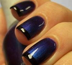 Midnight Blue and Black Tip Nails