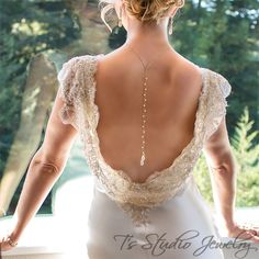Pearl Back Drop Gold Bridal Necklace and Earrings Set - from T's Studio Jewelry