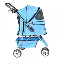 LOOK -  New Blue Pet Stroller Cat Dog Cage 3 Wheels Stroller Travel Folding Carrier T13
