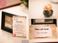 travel wedding personalized menu, place card and favor