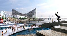 Conjunto projetado pelo BIG pretende reativar a orla de Aarhus