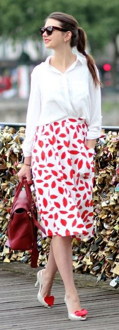Asos White And Red Side Pockets Leave Print Midi Skirt