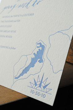 Letterpress Lake Map Wedding Invitations