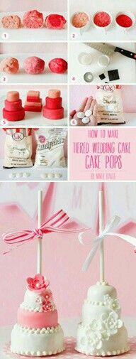 ♡♡♡ Adorable How to make wedding cake cake pops (step-by-step tutorial by niner bakes). Pretty Cakes, Cute Cakes, Beautiful Cakes, Amazing Cakes, Cake Pops, Mini Cakes, Cupcake Cakes, Cake Pop Designs, Cake Pop Tutorial
