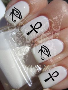 Egyptian Nail Art Eye of Ra/ Horus Egyptian Cross Nail Water Decals Transfers Wraps