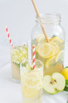 Lemonade was a popular menu item in Prague. My favorite was a green apple lemonade - the inspiration for this Apple Honey Lemonade recipe.