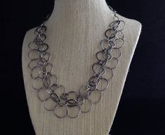 Handmade 3-strand fused fine silver chain necklace by NovelDesign