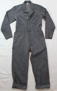 vintage workwear: Vintage 1940's Free Land Union Made Sanforized Salt & Pepper Coveralls