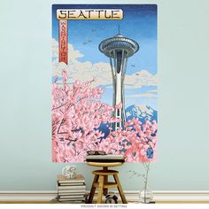 This travel poster wall decal brings vintage style to your decor with cherry blossoms, the Space Needle, and scenic Seattle, Washington. The removable wall sticker is made of textured polyester fabric with a glare-free matte finish. Sticks to most flat surfaces in your game room, office, or bar. Made in the USA with eco-friendly materials. Copyright Lantern Press/artlicensing.com. Available in 12