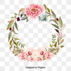 Beautiful flower wreath with leaves design PNG 와 PSD Leaf Clipart, Flower Clipart, Wedding Borders, Green Leaf Background, Corona Floral, Strawberry Flower, Unicorn Illustration, Purple Wreath, Floral Wreath Watercolor