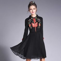 Vintage Floral Embroidery Pleated Dress Plus Size Women Clothing 2017 Spring New Black Dresses L to 4xl 5xl