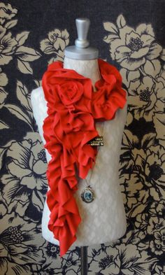 Items similar to - Mini ruffle scarf with ROSE brooch by - poppy red on Etsy Ruffle Scarf, Mini Roses, Red Scarves, True Red, Ss 15, Red Poppies, Red Lipsticks, Brooch Pin, Trending Outfits