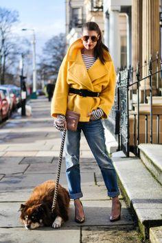 Thankfifi: Make lemonade #yellow #coat #streetstyle #glasgow #scotland #finnishlapphund #fashionblogger #breton #stripes #boyfriend #jeans