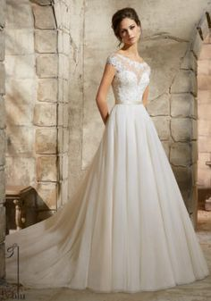 Embroidered Appliques with Crystal Beaded Soft Tulle Wedding Dress