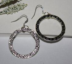 Antiqued Silver Hoop Earring Round 925 by HoneysuckleJewelscom, $23.00